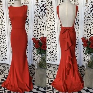 Red long formal dress